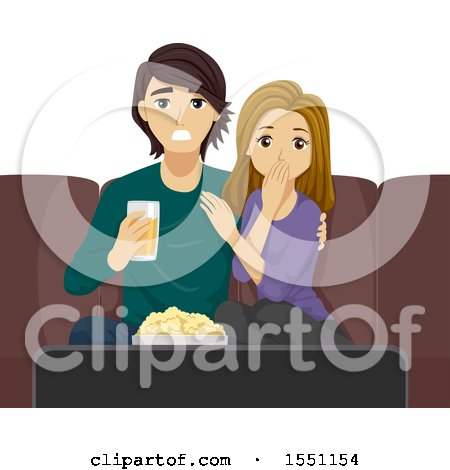 Clipart of a Teenage Couple Watching a Shocking Movie Together - Royalty Free Vector Illustration by BNP Design Studio