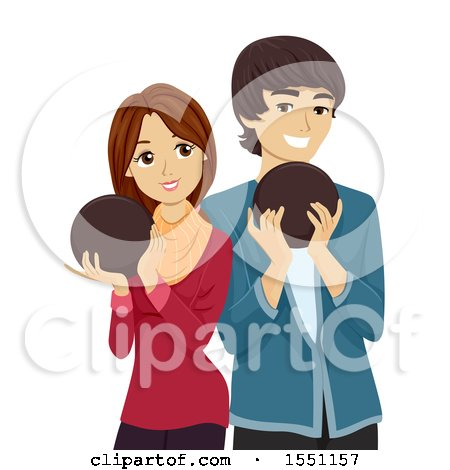 Clipart of a Teen Couple Holding Bowling Balls - Royalty Free Vector Illustration by BNP Design Studio