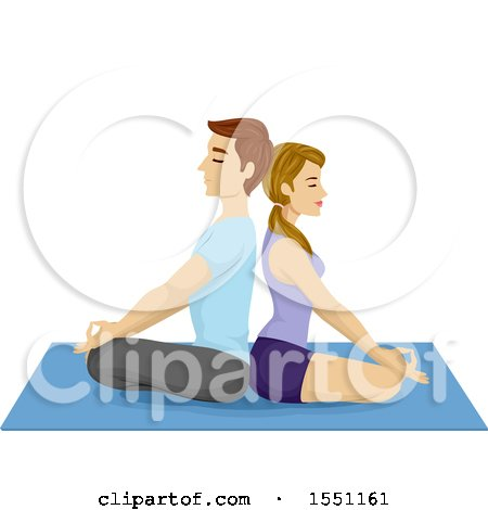 Clipart of a Couple Meditating Back to Back on a Yoga Mat - Royalty Free Vector Illustration by BNP Design Studio