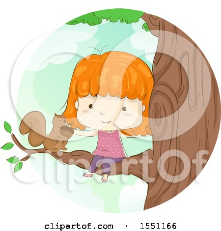 Clipart of a Red Haired Girl Petting a Squirrel - Royalty Free Vector Illustration by BNP Design Studio