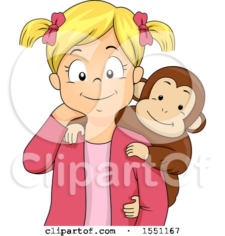 Clipart of a Happy Girl with a Pet Monkey on Her Shoulder - Royalty Free Vector Illustration by BNP Design Studio
