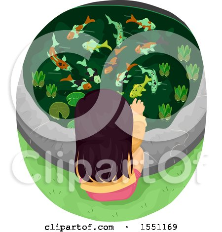 Clipart of a Girl Feeding Koi Fish in a Pond - Royalty Free Vector Illustration by BNP Design Studio