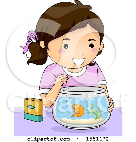 Clipart of a Happy Girl Feeding Her Pet Gold Fish - Royalty Free Vector Illustration by BNP Design Studio