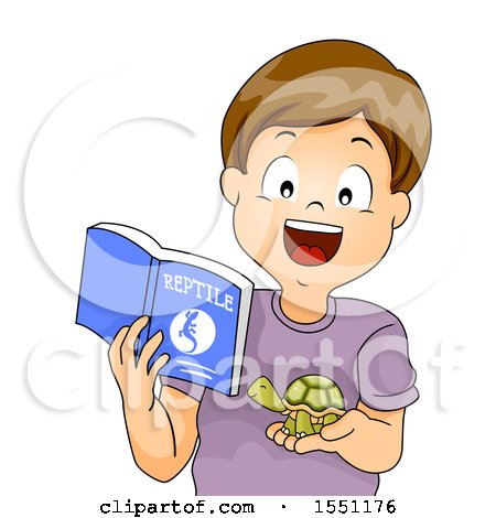 Clipart of a Boy Holding a Book About Reptiles and Holding His Pet Turtle - Royalty Free Vector Illustration by BNP Design Studio