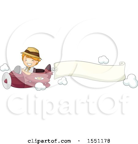 Clipart of a Boy Flying an Airplane with an Aerial Banner - Royalty Free Vector Illustration by BNP Design Studio