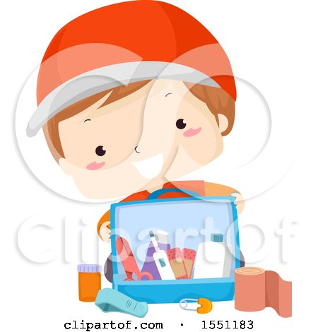 Clipart of a Boy with a First Aid Kit - Royalty Free Vector Illustration by BNP Design Studio