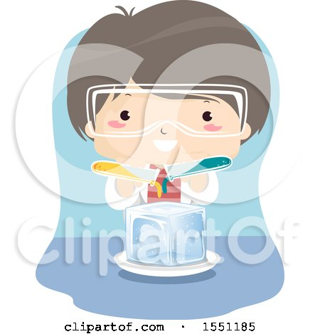 Clipart of a Boy Pouring Liquid over Ice in Science Class - Royalty Free Vector Illustration by BNP Design Studio