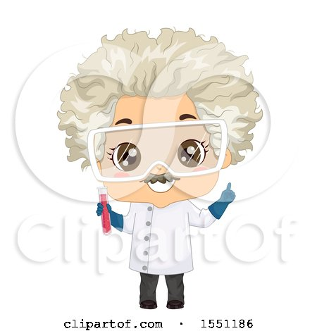 Clipart of a Mad Scientist Boy Holding a Test Tube - Royalty Free Vector Illustration by BNP Design Studio