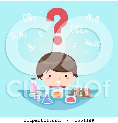Clipart of a Boy with a Question Mark over His Head, Looking at Science Containers - Royalty Free Vector Illustration by BNP Design Studio