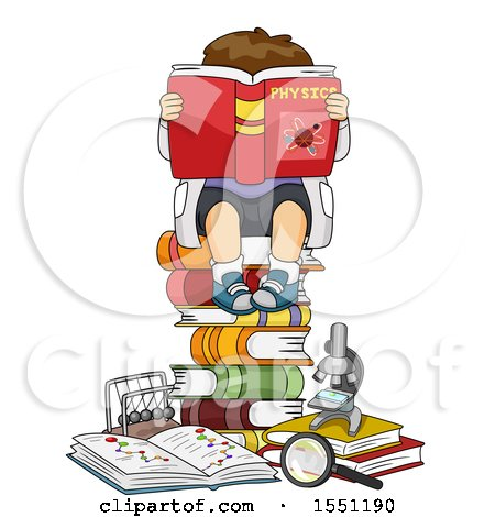 Clipart of a Boy Sitting on a Stack of Books and Reading Anouy Physics - Royalty Free Vector Illustration by BNP Design Studio