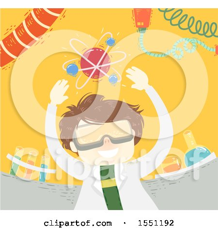 Clipart of a Scientist Boy with an Atom over His Head - Royalty Free Vector Illustration by BNP Design Studio