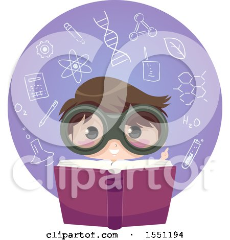 Clipart of a Scientist Boy Reading a Book in a Circle of Chemistry Elements - Royalty Free Vector Illustration by BNP Design Studio