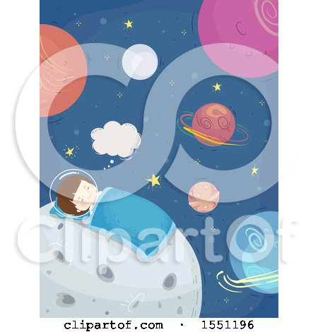 Clipart of a Boy Astronaut Sleeping on the Moon - Royalty Free Vector Illustration by BNP Design Studio