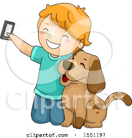 Clipart of a Boy Kneeling to Take a Selfie with His Dog - Royalty Free Vector Illustration by BNP Design Studio