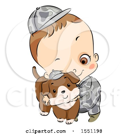 Clipart of a Boy in an Army Uniform, Hugging a Dog - Royalty Free Vector Illustration by BNP Design Studio