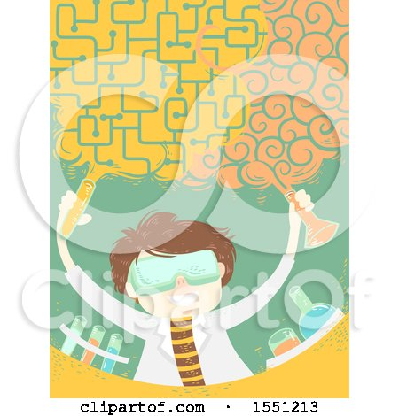 Clipart of a Scientist Man Forming a Brain Cloud in a Lab - Royalty Free Vector Illustration by BNP Design Studio