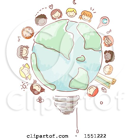 Clipart of a Group of Children Around a Sketched Light Bulb Globe - Royalty Free Vector Illustration by BNP Design Studio