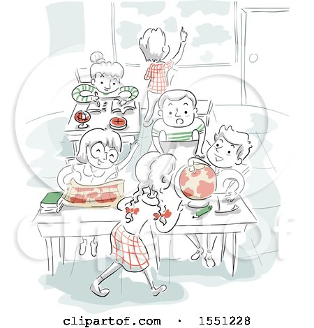 Clipart of a Sketched Class Room with Children Learning Geography - Royalty Free Vector Illustration by BNP Design Studio