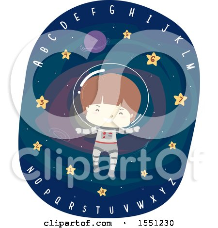 Clipart of a Boy Astronaut Floating in Outer Space with Stars and Alphabet Letters - Royalty Free Vector Illustration by BNP Design Studio