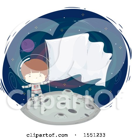 Clipart of a Boy Astronaut Holding a Flag on the Moon - Royalty Free Vector Illustration by BNP Design Studio