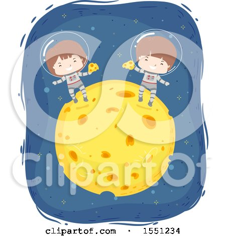 Clipart of Boy Astronauts Eating on Top of a Cheese Moon - Royalty Free Vector Illustration by BNP Design Studio