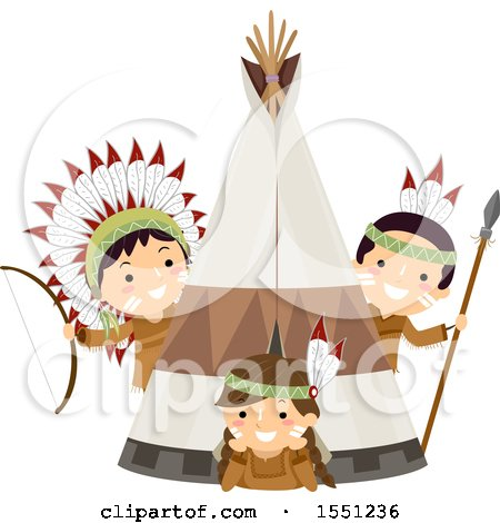 Clipart of a Group of Native American Indian Children at a Tipi - Royalty Free Vector Illustration by BNP Design Studio