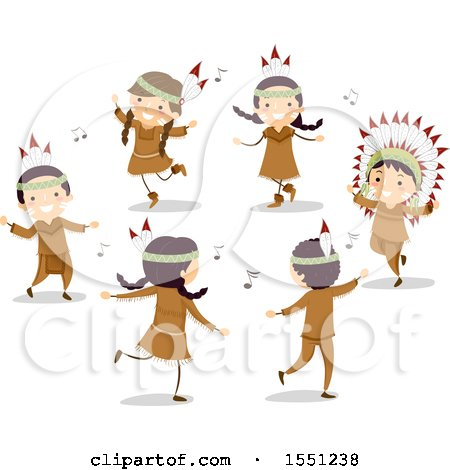 Clipart of a Group of Native American Indian Children Dancing - Royalty Free Vector Illustration by BNP Design Studio