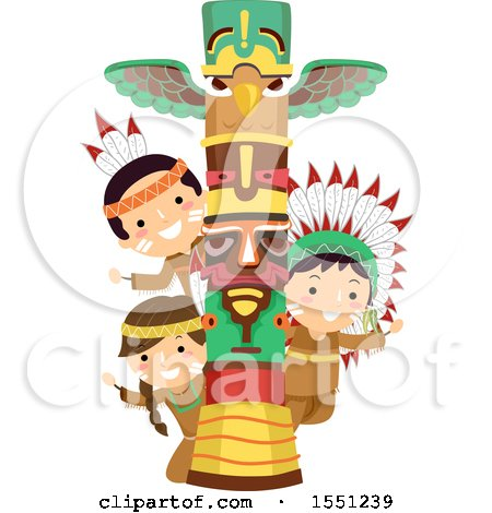 Clipart of a Group of Native American Indian Children with a Totem Pole - Royalty Free Vector Illustration by BNP Design Studio