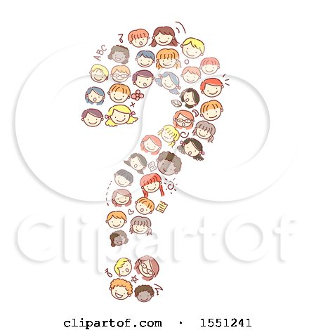 Clipart of a Group of Children Forming a Question Mark - Royalty Free Vector Illustration by BNP Design Studio