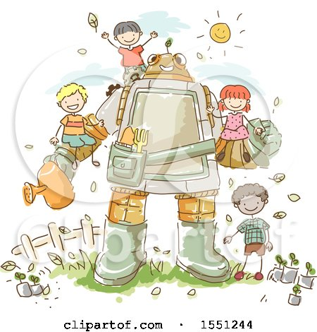 Clipart of a Group of Children Gardening with a Robot - Royalty Free Vector Illustration by BNP Design Studio