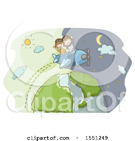 Clipart of a Sketched Boy and Girl Flying a Plane over Earth and Day and Night - Royalty Free Vector Illustration by BNP Design Studio