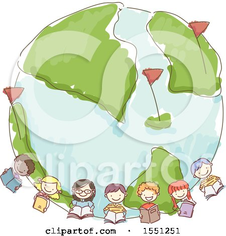 Clipart of a Sketched Group of School Kids Holding Books Around Earth - Royalty Free Vector Illustration by BNP Design Studio