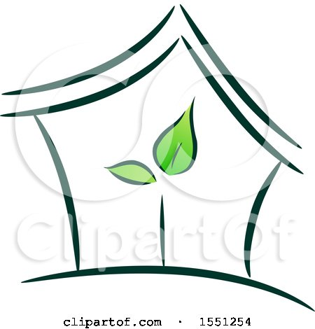 Clipart of a House with Green Leaves Inside - Royalty Free Vector Illustration by BNP Design Studio