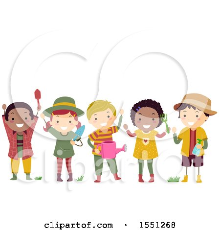 Clipart of a Group of Children in Gardening Gear - Royalty Free Vector Illustration by BNP Design Studio