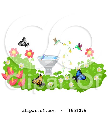 Clipart of a Bird Bath in a Garden with Hummingbirds and Butterflies - Royalty Free Vector Illustration by BNP Design Studio