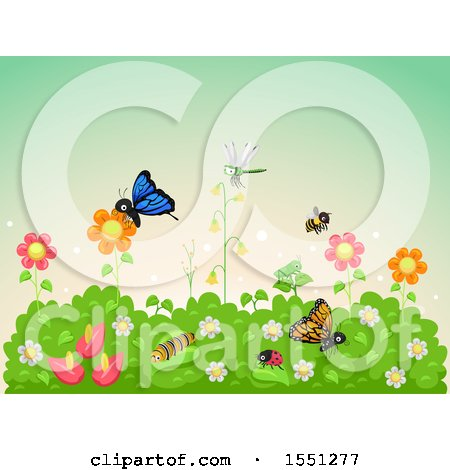 Clipart of a Flower Garden Full of Insects - Royalty Free Vector Illustration by BNP Design Studio