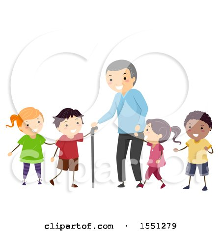 Clipart of a Group of Children Walking with a Senior Man - Royalty Free Vector Illustration by BNP Design Studio