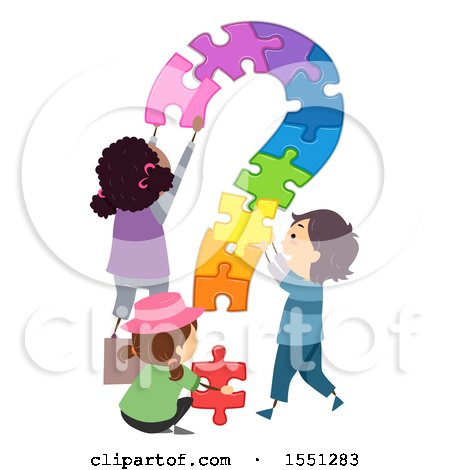 Clipart of a Group of Children Assembling a Colorful Puzzle Question Mark - Royalty Free Vector Illustration by BNP Design Studio