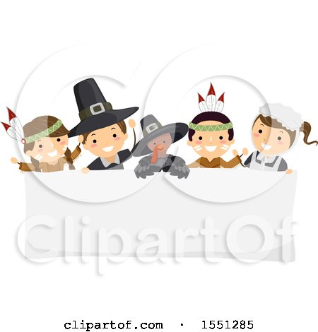 Clipart of a Group of Native American Indian and Pilgrim Children with a Turkey over a Thanksgiving Sign - Royalty Free Vector Illustration by BNP Design Studio