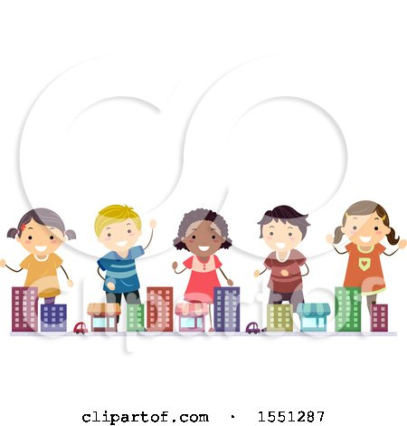Clipart of a Group of Children in a Toy Town - Royalty Free Vector Illustration by BNP Design Studio