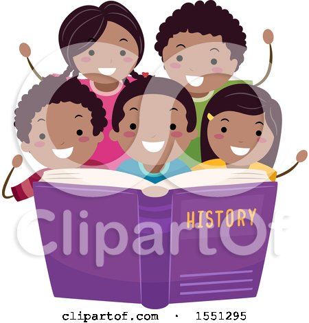 Clipart of a Group of African American School Children Reading About History - Royalty Free Vector Illustration by BNP Design Studio