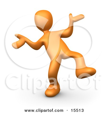 Happy Orange Person Doing a Dance Clipart Illustration Image by 3poD
