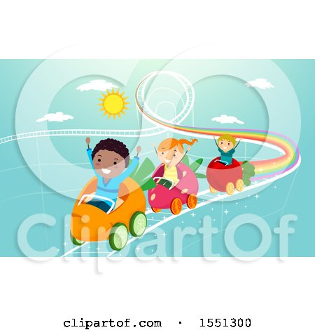 Clipart of a Group of Children Riding a Produce Roller Coaster - Royalty Free Vector Illustration by BNP Design Studio