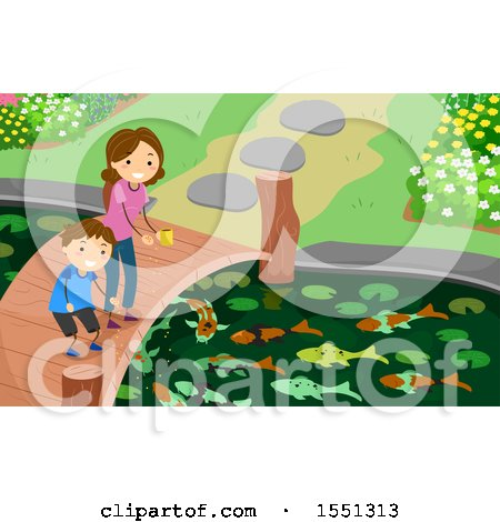 Clipart of a Mother and Son Feeding Fish in a Pond - Royalty Free Vector Illustration by BNP Design Studio