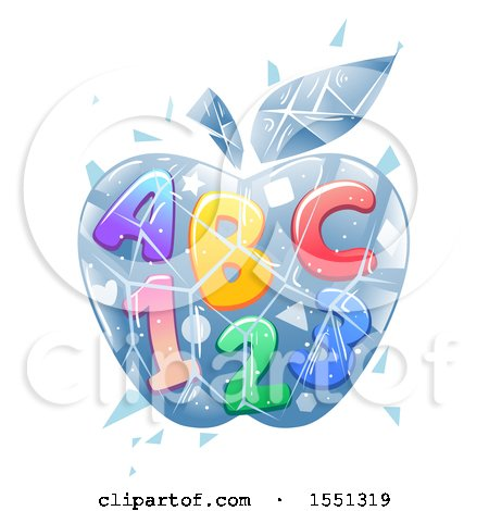 Clipart of a Frozen Ice Apple with Abc and 123 - Royalty Free Vector Illustration by BNP Design Studio