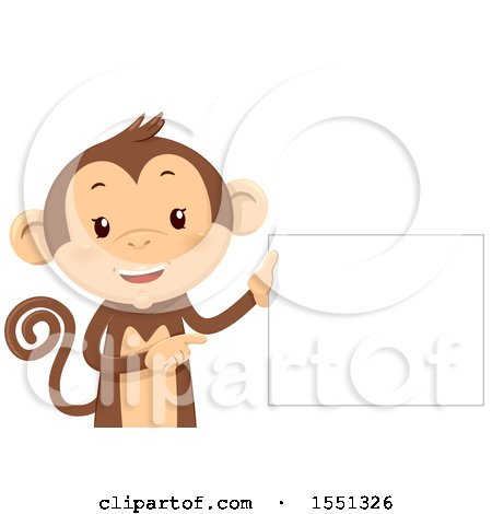 Clipart of a Monkey Mascot Holding a Blank Sign - Royalty Free Vector Illustration by BNP Design Studio