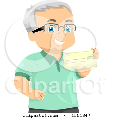 Clipart of a Senior Man Holding a Pension Check - Royalty Free Vector Illustration by BNP Design Studio
