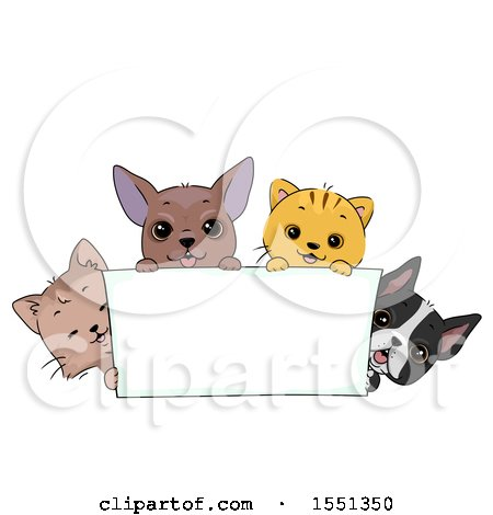 Clipart of a Blank Banner with Cats and Dogs - Royalty Free Vector Illustration by BNP Design Studio