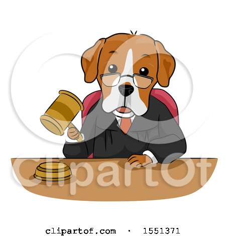 Clipart of a Judge Dog Mascot Banging a Gavel - Royalty Free Vector Illustration by BNP Design Studio