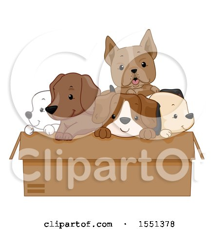 Clipart of a Box of Adorable Dogs - Royalty Free Vector Illustration by BNP Design Studio